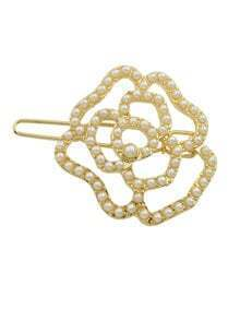 Gold Plated Pearl Flower Hair Clips