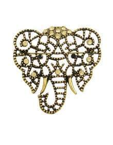 Gold Plated Cute Elephant Shape Brooch
