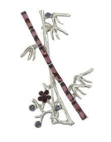 Silver Branch Shape Long Brooch
