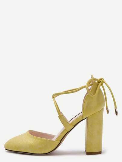Yellow Faux Leather Crisscross Strap Chunky Pumps