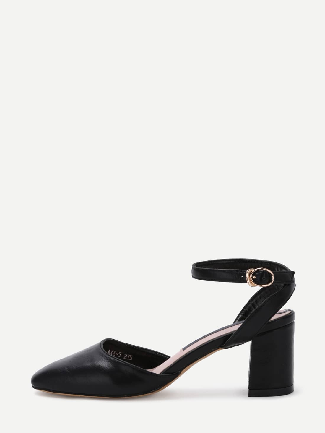 Pointed Out Ankle Strap Chunky Pumps shoes160427813
