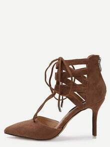 Camel Faux Suede Strappy High Stiletto Pumps