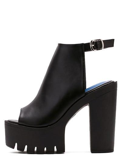 Чёрные стильные босоножки на высоких каблуках