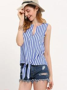 Blue White Sleeveless Bottons Tie Blouse