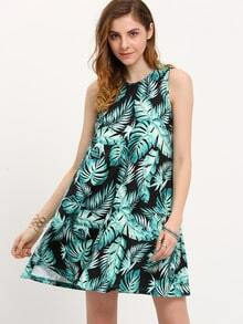 Green Print Sleeveless Shift Dress