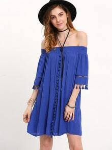 Blue Off The Shoulder Tassel Pleated Dress