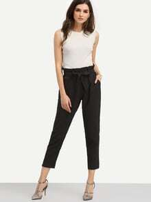 Black Pockets Tie Waist Pants