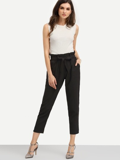 Pockets Tie Waist Pants