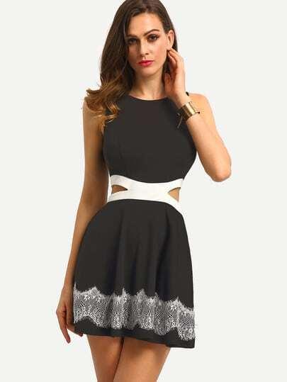 Black Sleeveless Hollow Patchwork Lace Dress