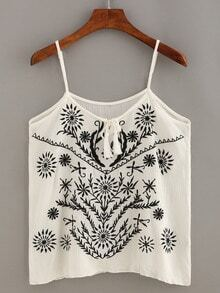 Embroidery Tassel-Tie Neck Cami Top