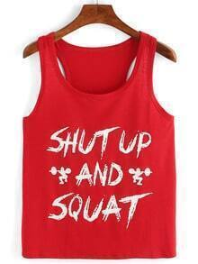 Letter Print Tank Top - Red