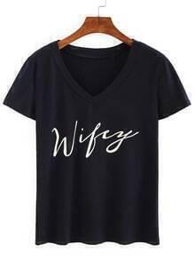 V Neck Letter Print T-shirt