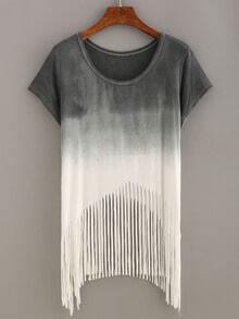 Grey Ombre Fringe T-shirt