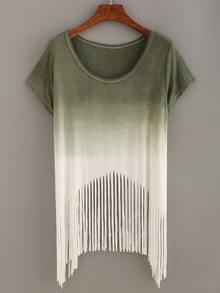 Olive Green Ombre Fringe T-shirt