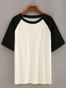 Black Short Sleeve Raglan T-shirt