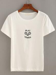 Tennis Racket Embroidered T-shirt