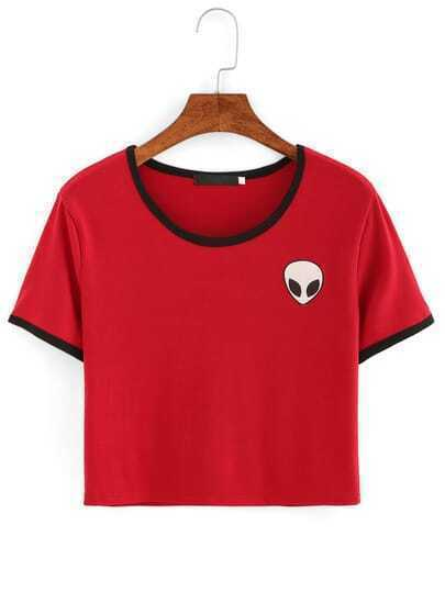 Red Crew Neck Alien Print Crop T-Shirt