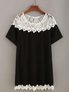 Contrast Lace Shoulder Dress