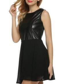 Black PU Top Chiffon Dress