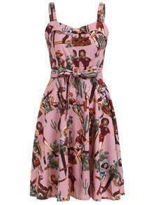 Vintage Print Wide Strap Dress - Pink