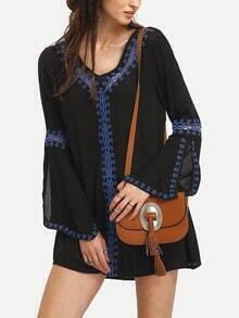 Black V Neck Bell Sleeve Embroidered Dress