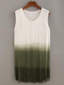 Cutout Fringe Ombre Tank Dress - Olive Green