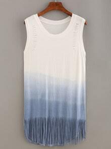 Cutout Fringe Ombre Tank Dress - Blue