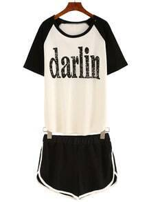 Varsity Print Raglan T-shirt With Shorts