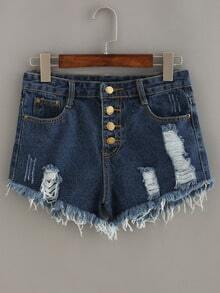 Frayed Buttoned Fly Denim Shorts