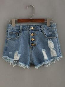 Frayed Buttoned Fly Light Blue Denim Shorts