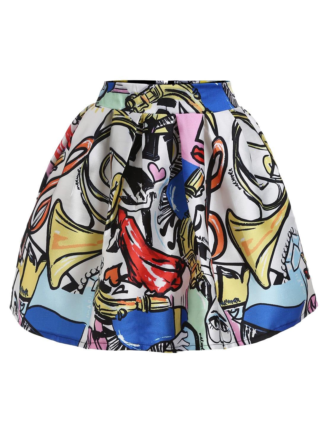 Graffiti Print Box Pleated SkirtGraffiti Print Box Pleated Skirt<br><br>color: Multi<br>size: L,M,S