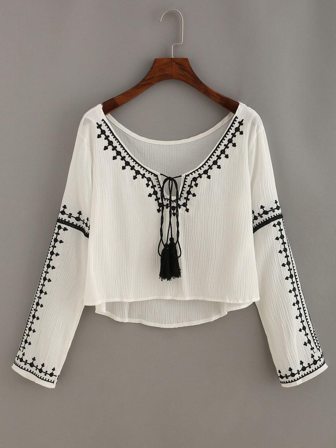Embroidery Tassel-Tie Neck High Low Blouse -SheIn(Sheinside)