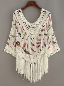 Feather Print Crochet Insert Fringe Blouse