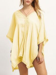 Yellow Bell Sleeve Lace Insert Poncho Blouse