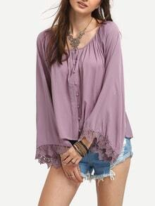 Purple Bell Sleeve Lace Insert Poncho Blouse
