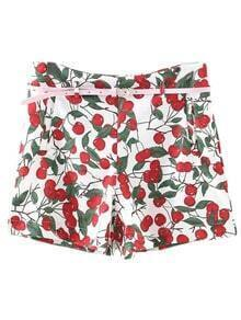 Multicolor Pockets Zipper Side Cherry Print Shorts With Belt