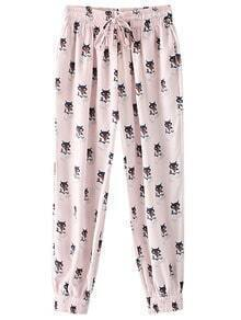Multicolor Pockets Elastic Tie-Waist Print Pants