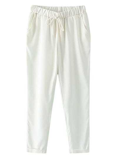 White Pockets Elastic Tie-Waist Linen Pants