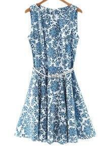 Blue And White Porcelain Skater Dress With Belt