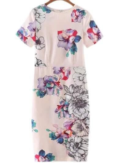 Multicolor Short Sleeve Split Back Floral Print Dress