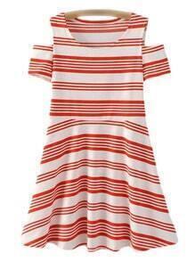 Red White Stripe Cold Shoulder Skater Dress
