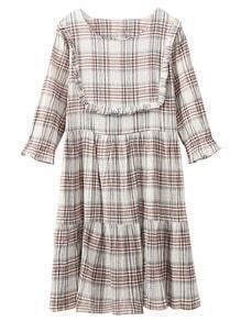 Khaki Half Sleeve Ruffle Cotton Hemp Plaids Dress