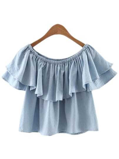Light Blue Boat Neck Double Layers Ruffle Blouse