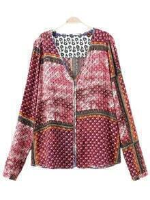 Multicolor Long Sleeve Buttons Front Print Blouse