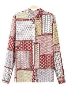 Multicolor Long Sleeve Buttons Front Printed Blouse