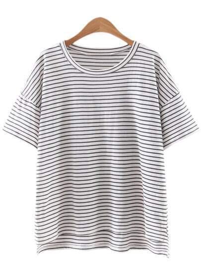 Camiseta rayas asimétrica manga corta -gris blanco