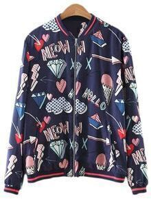 Multicolor Pockets Zipper Front Print Jacket