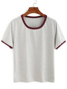 Contrast Trim Plain T-shirt
