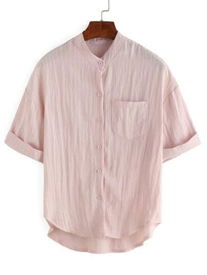Vertical Striped Rolled Sleeve Blouse - Pink