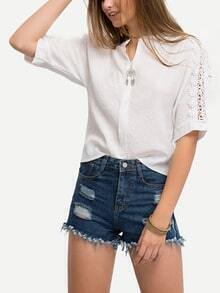 Lace Insert Sleeve Collarless Blouse